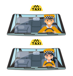 Taxi vehicle interior driver worker car wheel ride vector