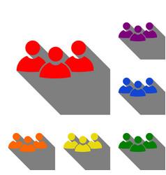 team work sign set of red orange yellow green vector image