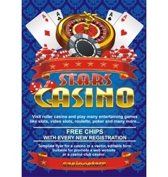 Template flyer for a casino on a blue background vector