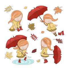 umbrella collection autumn girl character i vector image
