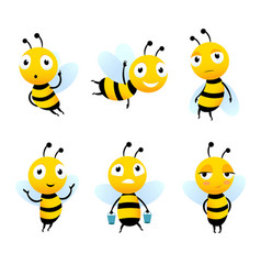 Various cartoon characters of bees with honey vector