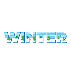 winter in the double exposure vector image