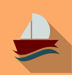 Yacht icon in flat style with shadow vector