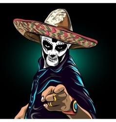 Day of the dead sugar skull man mexican vector