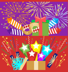 horizontal flat pyrotechnics festival isolated vector image