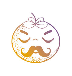 line kawaii cute angry orange fruit vector image vector image