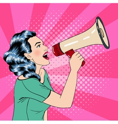 Pop art style woman with megaphone vector