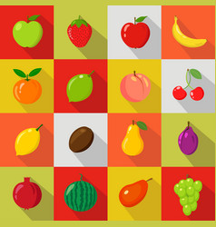 set of flat icons fresh natural fruits vector image