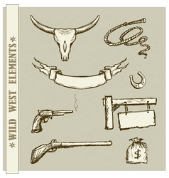wild west set collection vector image