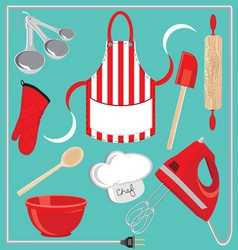 baking icons and elements vector image vector image