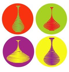 color icon set with amphora vector image