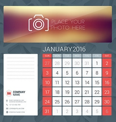 Desk calendar for 2016 year january stationery vector