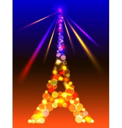 Eiffel Tower in shiny blue and yellow lights and vector image