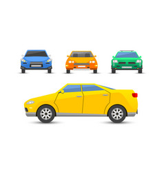 Flat yellow car vehicle type design style vector