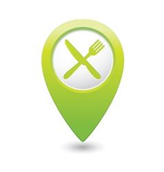 knife AND fork GREEN map pointer vector image vector image