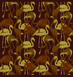 military seamless pattern with tropical flamingo vector image vector image