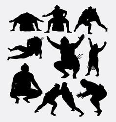 Sumo japanese sport male silhouette vector