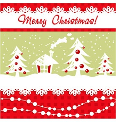 Cartoon Christmas card with xmas tree vector image vector image