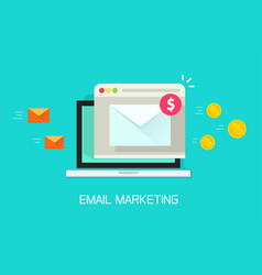 email marketing campaign flat laptop vector image