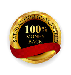 premium quality 100 money back golden medal icon vector image