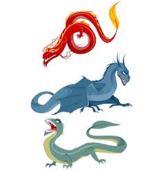 three dragons set vector image