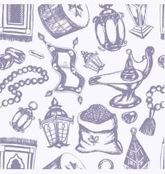 Muslim symbols - hand drawn seamless pattern vector