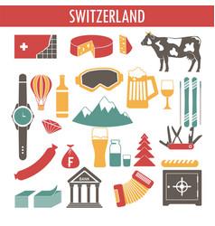switzerland sightseeing landmarks and famous vector image