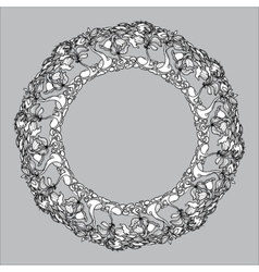 vintage round frame from floral pattern on vector image vector image