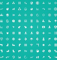 100 diagram icons vector image