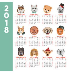 2018 calendar dog year breed cartoon pet icons vector