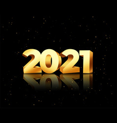 2021 new year 3d golden text on black background vector
