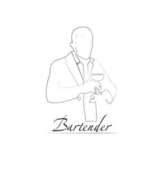a barman outline style vector image