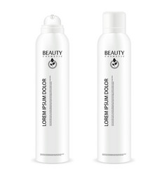 Aerosol spray metal bottle with lid deodorant vector