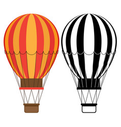 aerostat icons hot air balloons isolated vector image