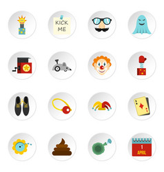 april fools day icons set flat style vector image