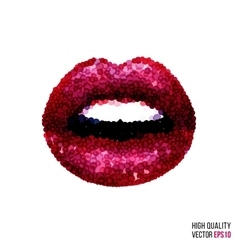 Beautiful woman sexy lips with dotted shape vector