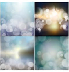 Big set of blurry backgrounds with bokeh effect vector