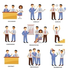 Business character set vector image