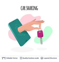 Car sharing mobile app icon concept vector