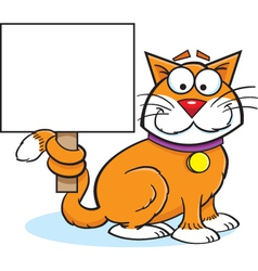 Cartoon Cat with a Sign vector