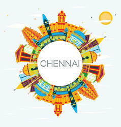 Chennai india skyline with color landmarks blue vector
