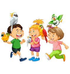 Children playing with parrot birds on white vector