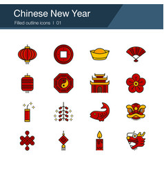 chinese new year icons filled outline design for vector image