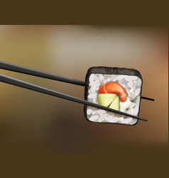 Chopsticks holding sushi roll with salmon vector