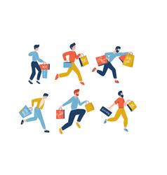collection male people carrying shopping bags vector image