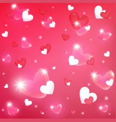 colorful heart valentine on pink background vector image
