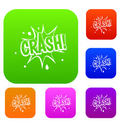 crash explosion set color collection vector image