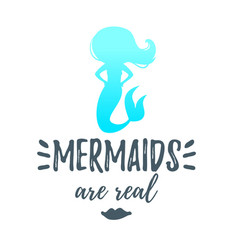 Cute mermaid silhouette vector