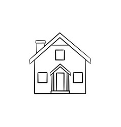 detailed house hand drawn outline doodle icon vector image