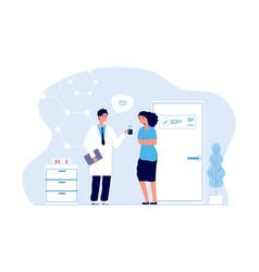Doctor and patient prescription vector